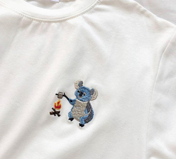 CUTE LITTLE ANIMALS EMBROIDERY OVERSIZED T-SHIRT