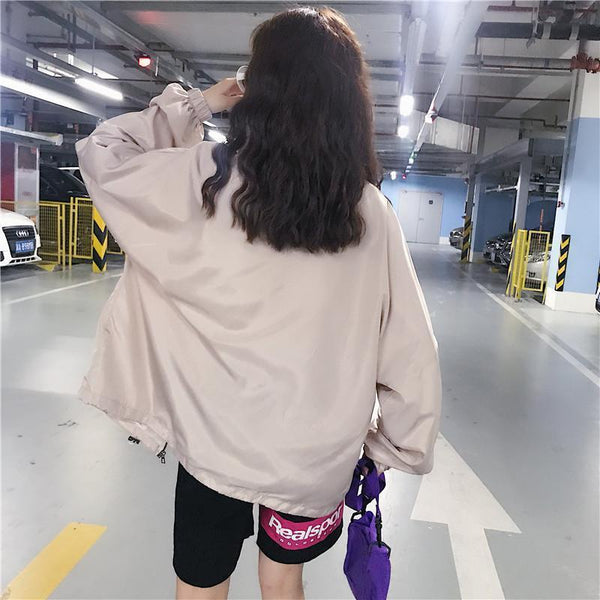 CUTE MOONS PATTERN WINDBREAKER SPORTY CREAMY JACKET