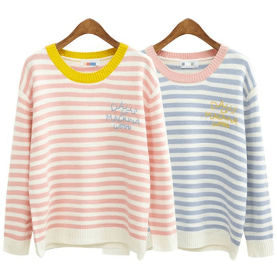 CUTE PASTEL COLORS STRIPES KNIT SWEATER
