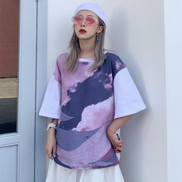 CUTE PASTEL COLORS WHALE PRINT OVERSIZED T-SHIRT