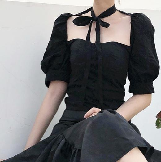CUTE RIBBON WHITE BLACK PUFF SLEEVES BUTTONS LOLITA TOP