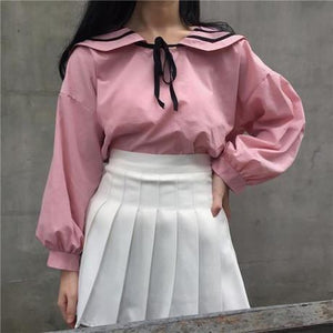 CUTE SAILOR COLLAR BOW LONG VOLUME SLEEVE