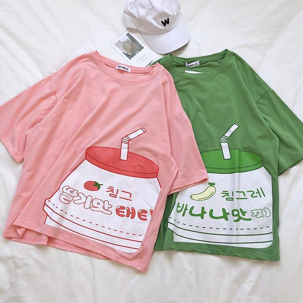 CUTE STRAWBERRY MILK BOX PRINTED OVERSIZED T-SHIRT