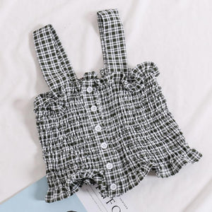 CUTE SUMMER LOLITA STYLE SLEEVELESS FRONT BUTTONS PLAID CROP TOPS