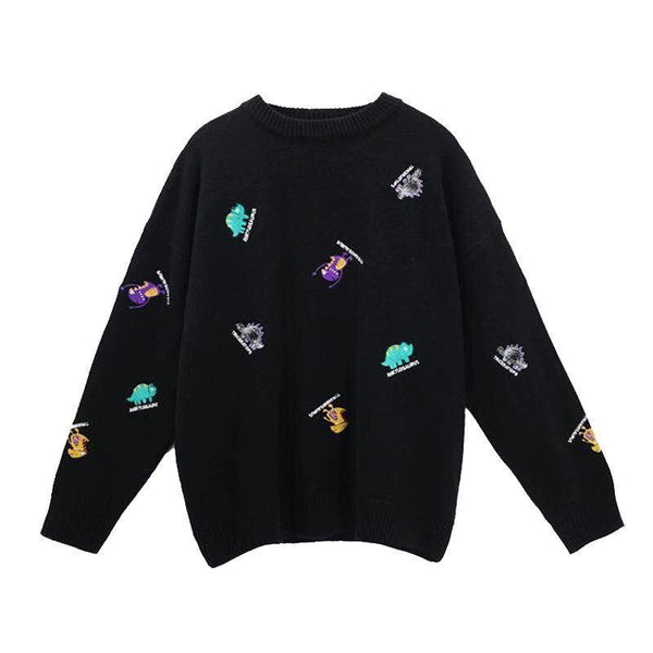 CUTE TINY DINOSAURS TUMBLR AESTHETIC COLORFUL SWEATER