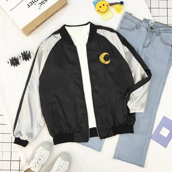 CUTIE GIRL MOON EMBROIDERY BOMBER JACKET