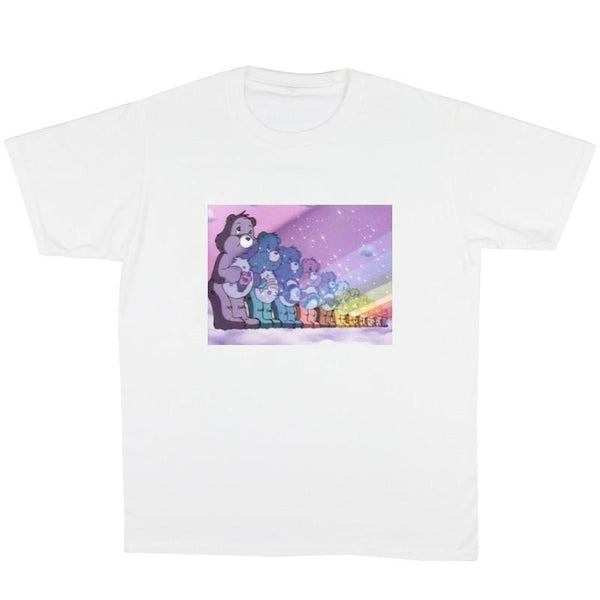 D CARE BEARS SPREAD THE RAINBOW PRINT WHITE T-SHIRT