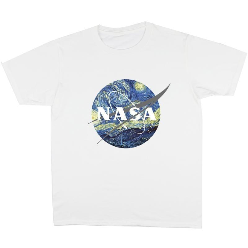 D NASA VAN GOGH STARRY NIGHT ART ROUND LOGO COTTON T-SHIRT