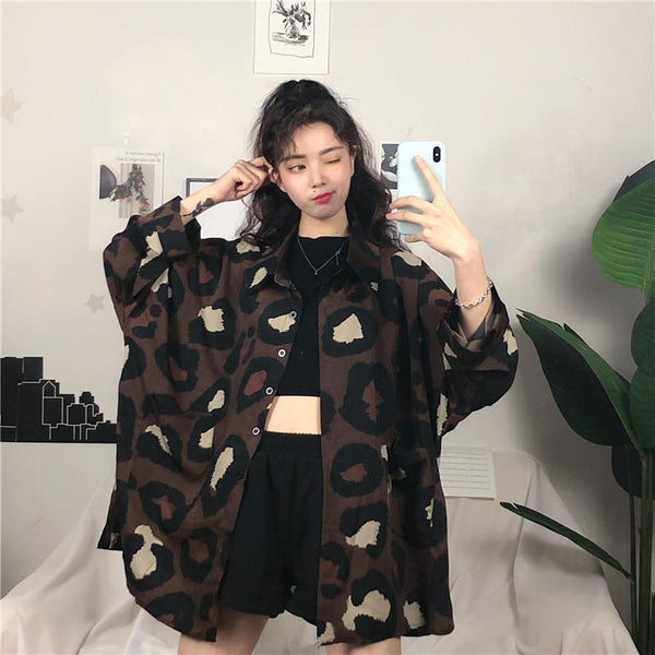 DARK LEOPARD PRINTS RETRO OVERSIZED LONG SLEEVED SHIRT