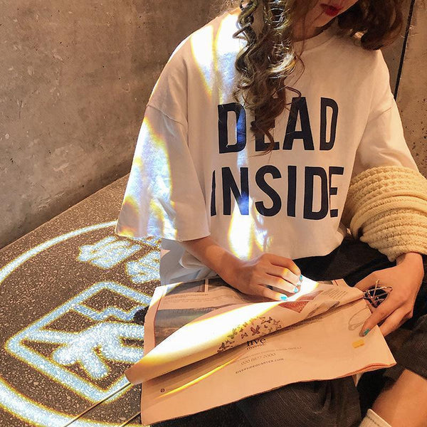 DEAD INSIDE LETTERS PRINT YELLOW WHITE OVERSIZED T-SHIRT