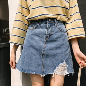 DENIM ABOVE KNEE SIDE RIPPED CUTE SKIRT