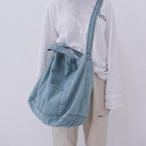 DENIM CANVAS LIGHT DARK BLUE SHOULDER BAG
