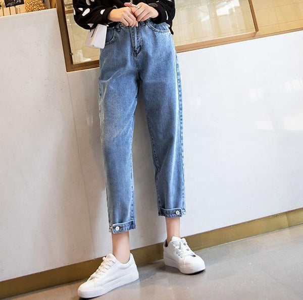 DENIM HIGH WAIST BLUE ANKLE BUTTONS JEANS
