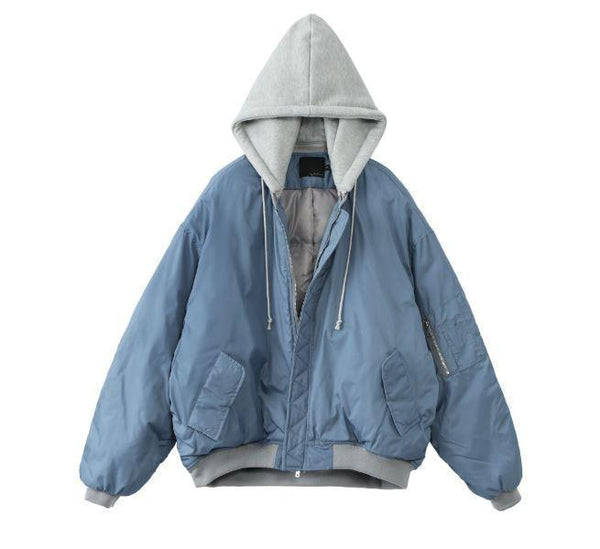DENIM OVERSIZED HOODED JACKET