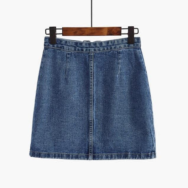 DENIM POCKETS FRONT ZIPPER RING JEAN PENCIL ABOVE KNEE SKIRT