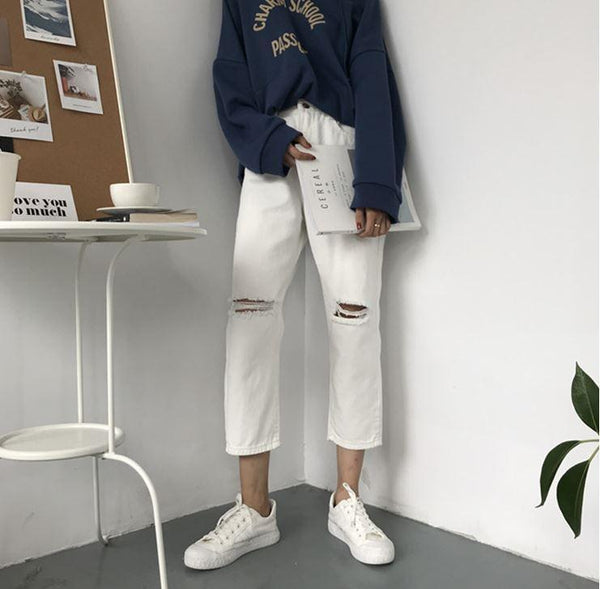 DENIM RIPPED KNEE HOLES WHITE BLACK OVERSIZED JEANS