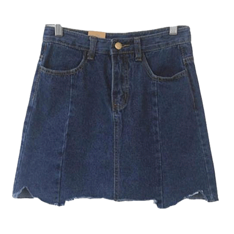 DENIM SEWED LINES JEAN SKIRT