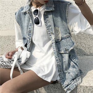 DENIM SLEEVELES RIPPED GRUNGE VEST