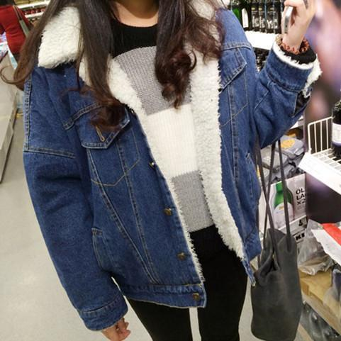 DENIM WITE FLUFFY COLLAR BUTTONS OUTWEAR WARM JACKET