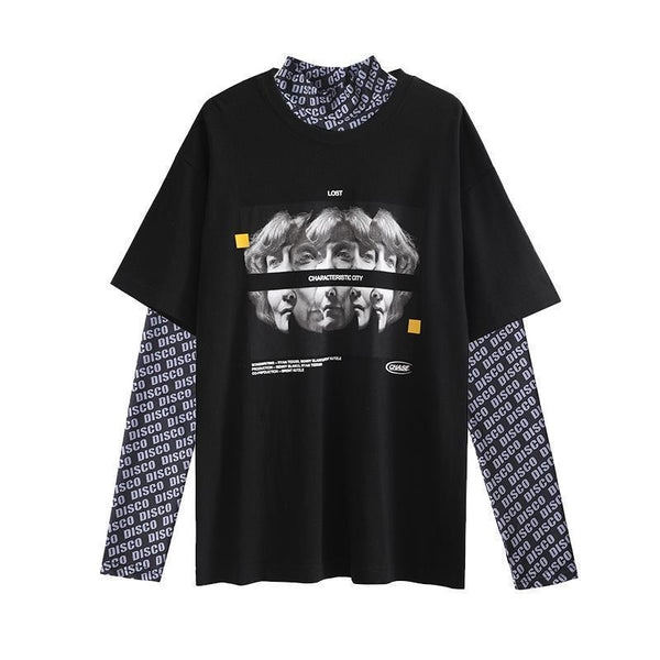 DISCO LETTER PRINT TURTLE NECK TOP + BLACK RETRO PRINTED T-SHIRT