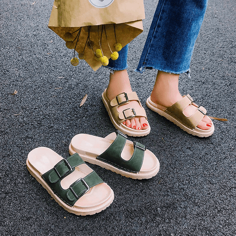 DOUBLE BUCKLE OPEN FLAT SUMMER ZIN SANDALS
