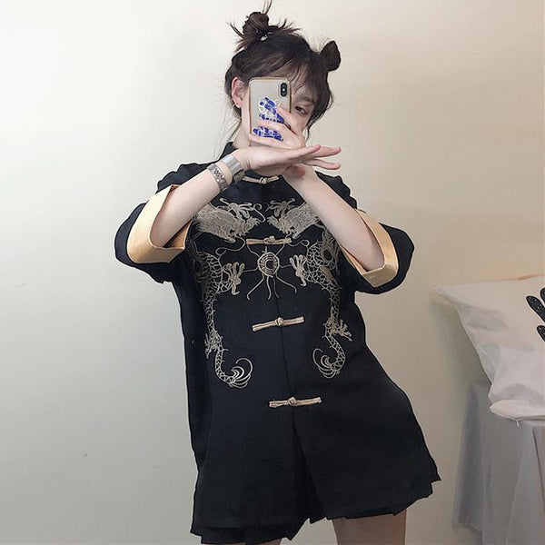 DRAGON CHINESE STYLE EMBROIDERY ELEGANT LOOSE BLOUSE