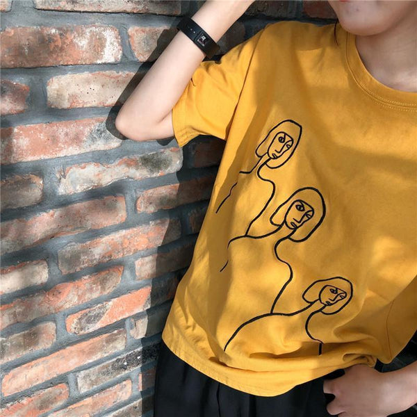 DRAWING THREE FACES BLACK EMBROIDERY SEW LINES COTTON T-SHIRT