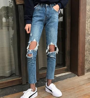 EDGE SIDE LACEUP DENIM FLARED JEANS