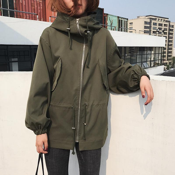ELASTIC WAIST BLACK GREEN BLUE HOODED JACKET