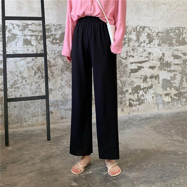 ELASTIC WAIST KOREAN FASHION LOOSE THIN PANTS
