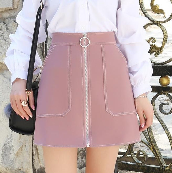 ELEGANT SEW DETAILS FRONT ZIPPER THREE COLOURS SKIRT