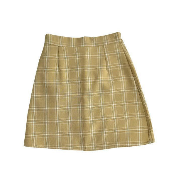 ELEGANT VINTAGE PLAID PENCIL PASTEL COLOUR SKIRT