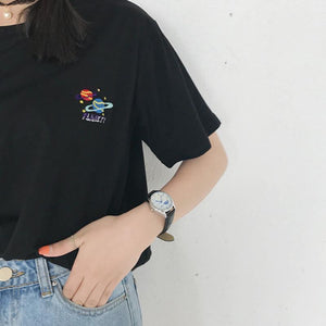 EMBROIDERY PLANETS BLACK WHITE COTTON T-SHIRT