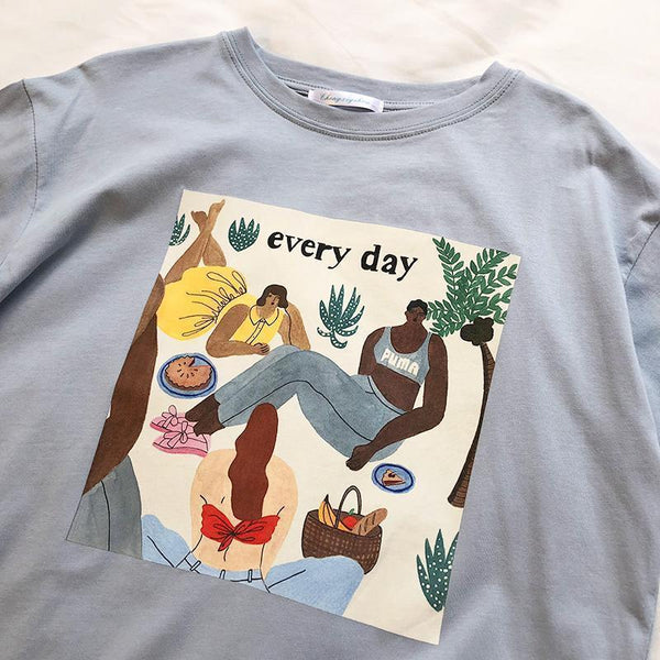 EVERY DAY ABSTRACT PAINTING PRINT OVERSIZED T-SHIRT