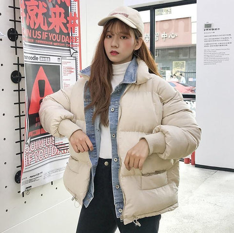 FAKE DENIM PIECE WARM PADDED JACKET