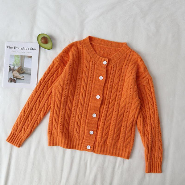 FALL COLORS AESTHETIC RETRO KNIT BRAIDS CARDIGAN SWEATER