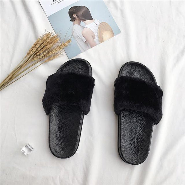 FAUX FLUFFY FUR RUBBER PINK GRAY BLACK FLAT OPEN SANDALS