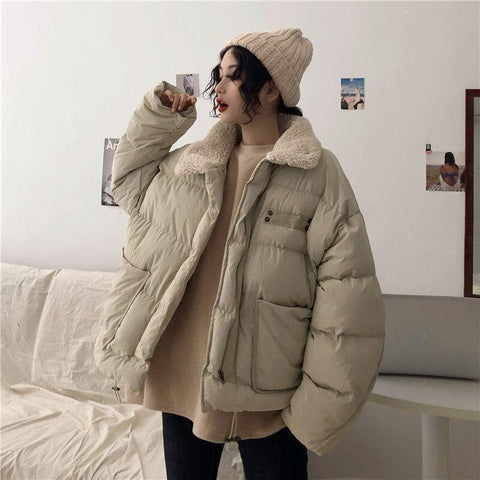 FAUX FUR COLLAR WARM PUFF QUILTED OUTWEAR JACKET