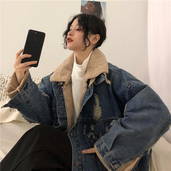 FAUX FUR HIGH TURTLE NECK WINTER RIPPED DENIM JACKET