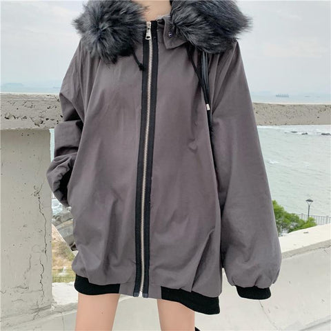 FAUX FUR HOOD WARM VELVET OVERSIZE OUTWEAR JACKET