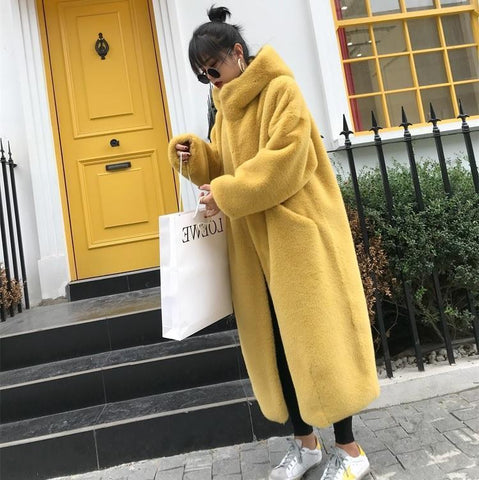 FAUX FUR SOLID COLORS HOODED LONG COAT