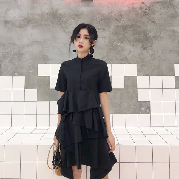 FLARED BLACK COTTON SHORT SLEEVE COLLAR CLOSED DRESS
