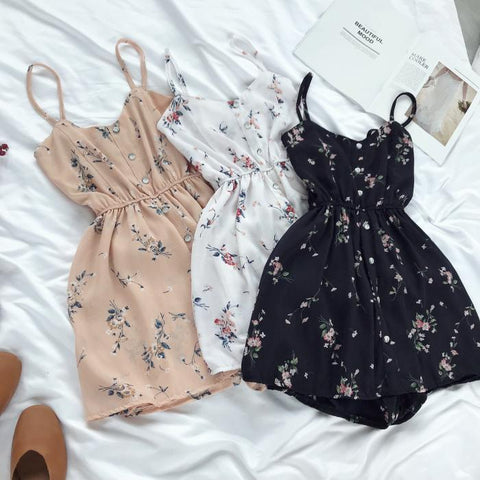 FLOWER PATTERN SUMMER LIGHT THIN STRAPS ROMPER DRESS