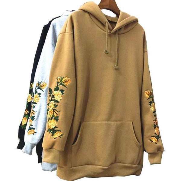 FLOWERS EMBROIDERY SLEEVE KHAKI BLACK GRAY HOODIE