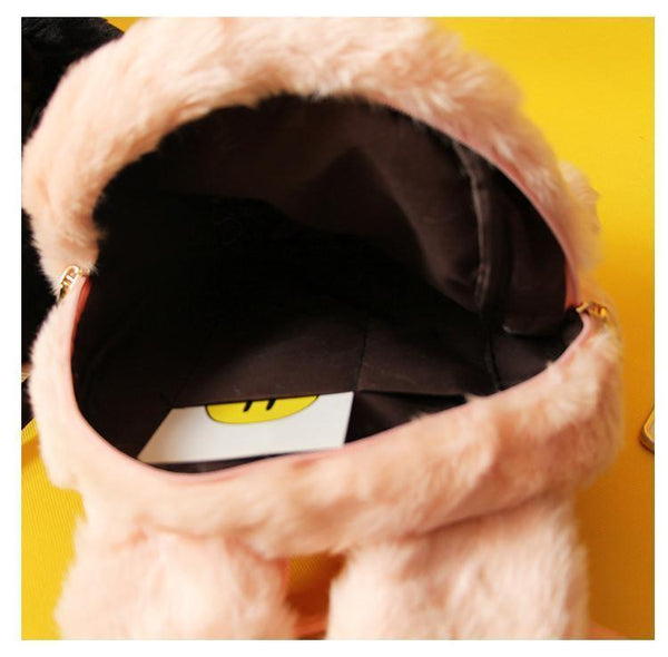 FLUFFY FAUX FUR BUNNY TOY PINK BLACK BACKPACK