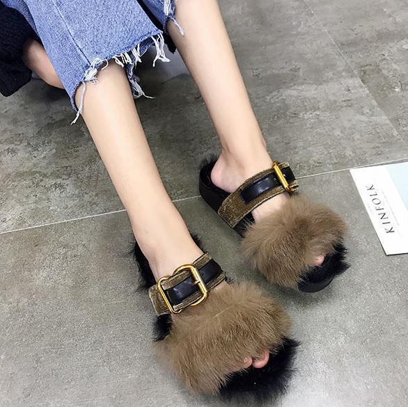 FLUFFY FAUX FUR INSOLE FRONT BUCKLE OPEN TOE SANDALS