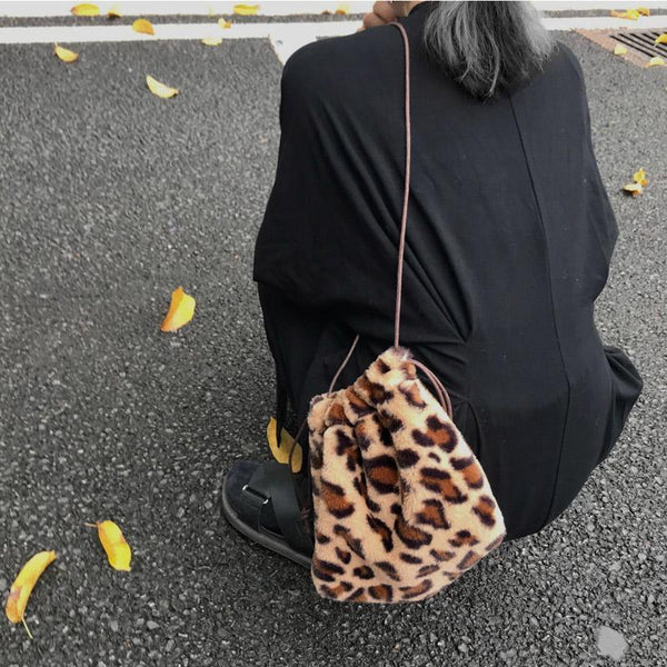 FLUFFY FAUX FUR LEOPARD PRINT SHOULDER PURSE BAG
