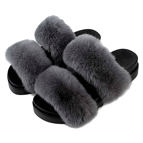 FLUFFY FAUX FUR TWO ROWS FLAT SANDALS