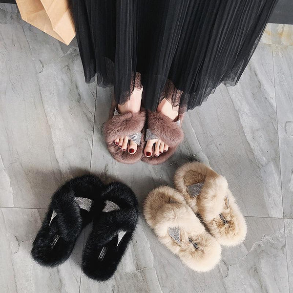 FLUFFY FUR RHINESTONES CROSS SLIPPERS