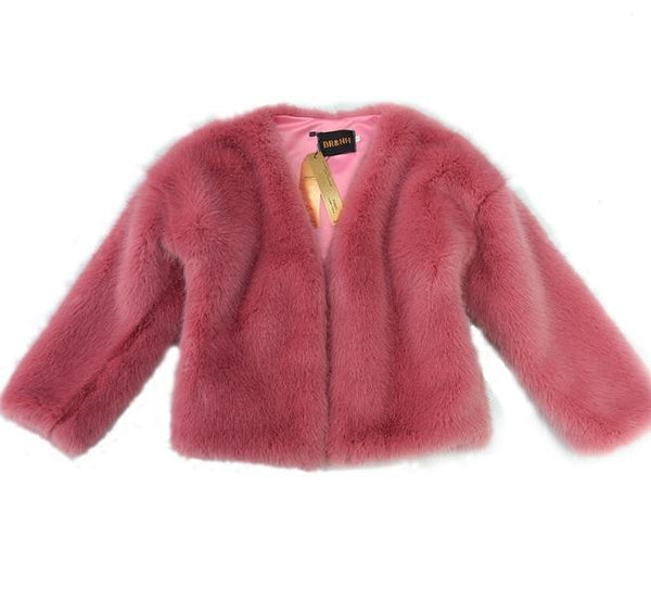 FLUFFY HAIR FAUX FUR PINK OUTWEAR COAT JACKET